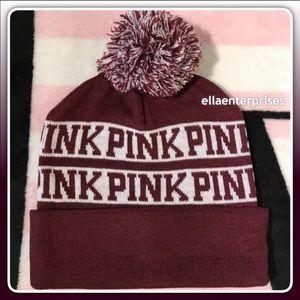 VS Pink Ruby White Pom Pom Beanie Hat